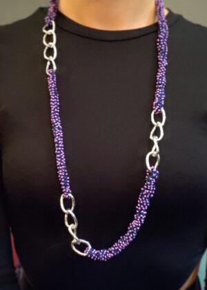 Collana perline viola