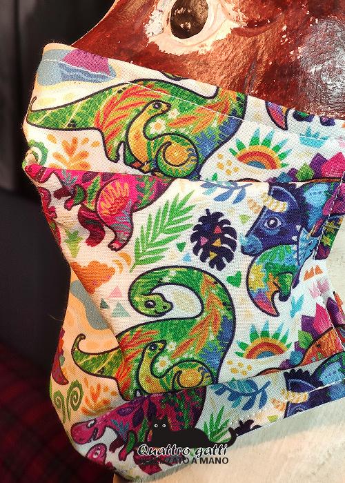 profilo mascherina dinosauri colorati